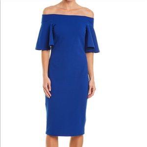 Bebe Flutter Sleeve Cobalt Blue Midi Dress